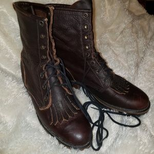 Shoes - Leather Lace-up Victorian Combat Boots
